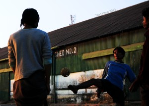 Takraw playing of river life